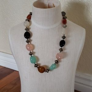 Women's necklace semi precious stones new